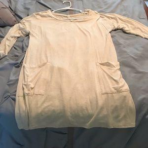 Oatmeal button back tunic dress medium